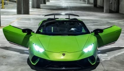 Lamborghini Huracán Performante Spyder, front view, with doors open