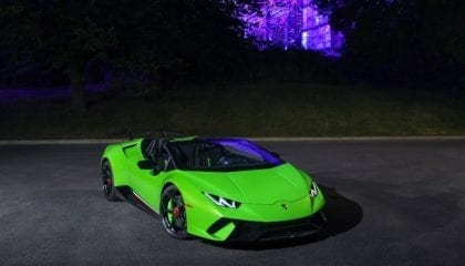 Lamborghini Huracán Performante Spyder, front view at night